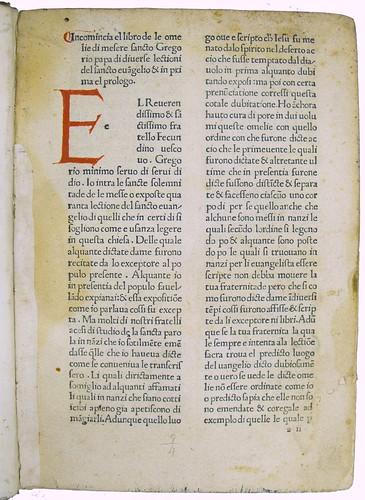 Coloured initial in Gregorius I, Pont. Max.: Homiliae super Evangeliis