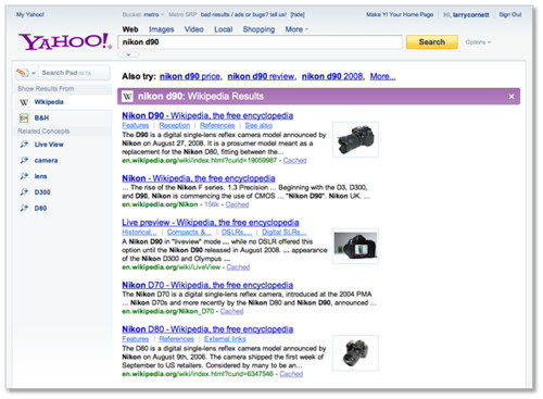 New Yahoo! Search Page - Search Monkey