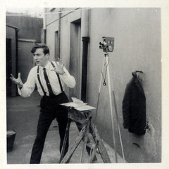 Ok, now once more with feeling! (Debbie Hickey) Tags: camera ireland blackandwhite bw film set lights video action uncle director 8mm producer tipperary super8 thurles nphproductions noelhickeypolaroid