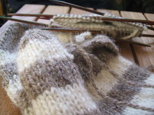 Shetland striped mittens