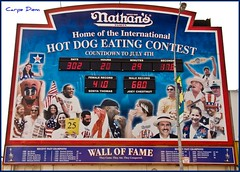 nyc newyorkcity food ny newyork color brooklyn coneyisland hotdog colorful eating contest eat boardwalk countdown nathans joeychestnut