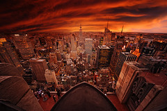 Is It The End Of Days? (Philipp Klinger Photography) Tags: life new york city nyc trip travel light sunset shadow red vacation sky orange usa ny color colour building art rock architecture america skyscraper river square observation fire evening us nikon theater angle state theatre top manhattan district centre united von wide apocalypse center days east deck esb empire end times hudson states chrysler rockefeller met avenue amerika deco 5th philipp sigma1224mm topoftherock 30rock fifth the staaten klinger vereinigte of colorphotoaward d700 dcdead rbfeatured