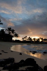 Sunrise in Paradise (SF knitter) Tags: vacation beach water sunrise reflections hawaii rocks waves kauai poipu wetsand cloudage bej fbdg withbothsetsofparents 51yearsofmarriage isworthcelebrating withaspecialtrip