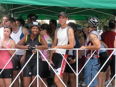 Our cyclists in the relay cage