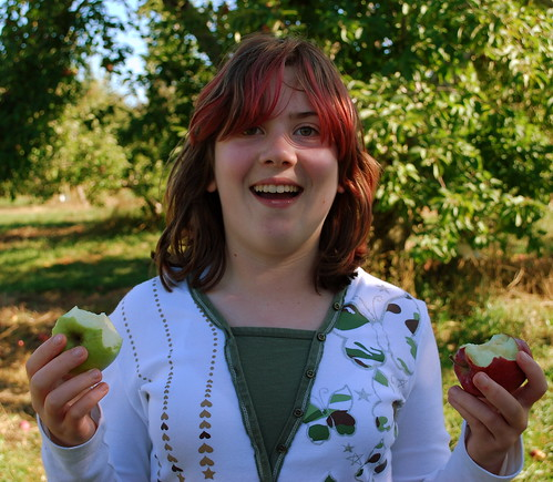 Apple Picking 2 fisted apple eating - Sara