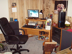 New desk (tjberens) Tags: apple lamp computer mouse mac keyboard ipod desk touch xbox 360 headset monitor stereo acer microsoft headphones controller receiver speakers lifehacker hackintosh destroytwitter
