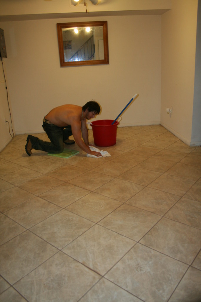 Aaron finishing the clean up on the Marble tile we had installed
