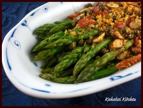 Kahakai Kitchen: Asparagus with Bread Crumbs, Almonds & Capers