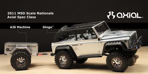 Axial SCX10 Dingo with AJS Machine Adventure Trailer for MSD Scale Nationals