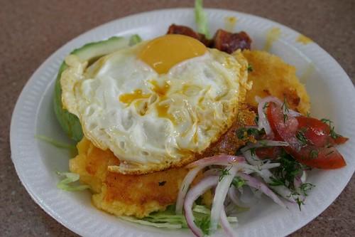 Llapingachos brekkie in Ambato. Delicious stuff!