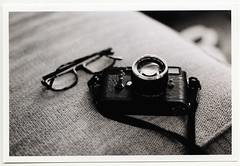M3 and glasses (crank and lever) Tags: leica 50mm nikon super xp2 18 m3 ilford fm3a ais repainted blacklizard cameraleather notarealblackpaint artistandartisan