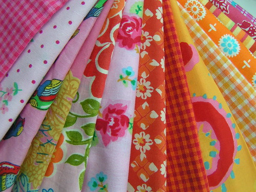 pink and orange fabrics