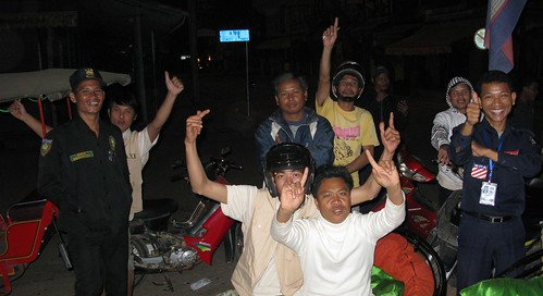 Tuk tuk drivers celebrate Obama's Inauguration - Siem Reap, Cambodia