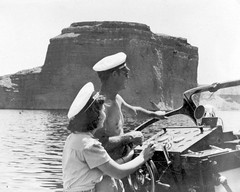 1940-7-21 PERM-No-5107 (Mjr Kool) Tags: park wood old arizona usa lake heron hat rock bar vintage hair point geotagged temple boat us wooden sandstone driving artistic cut nevada scenic hats hairdo scuba basin formation hull mead float hairstyle geotag rosepetal capitan tertiary thehead templebasin boatwreckpoint
