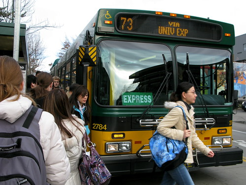 Student Downtown Lunch Bus Rush