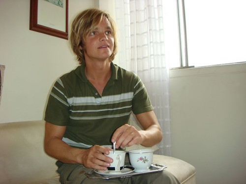 Nicolai drinking the best coffee in the world!