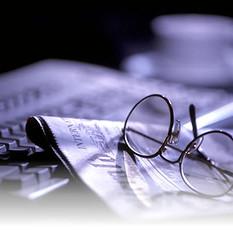 Glasses, Newspaper, Keyboard, Coffee Cup