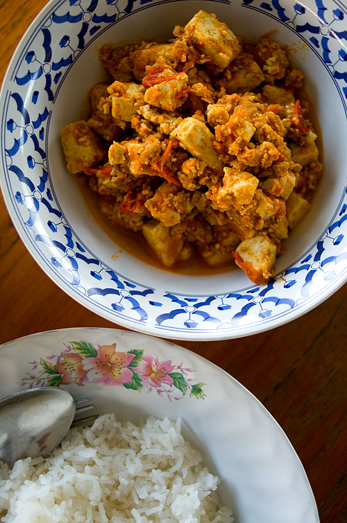 A dish of thua foo khua, a tofu dish from Mae Hong Son