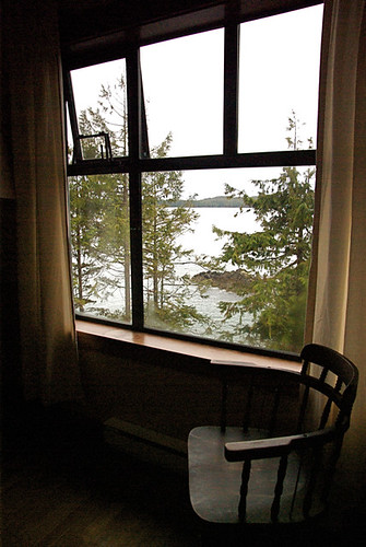 Looking out the window of our room at the Middle Beach Lodge in Tofino.