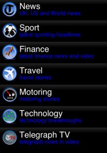 Telegraph app content