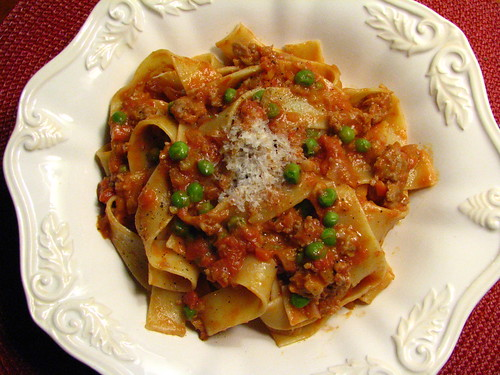 Pappardelle with Sausage and Pea Ragu