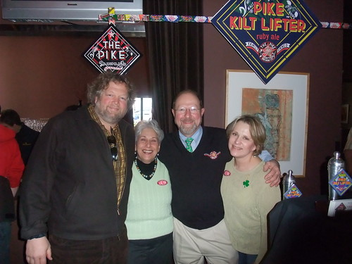Rose Ann and Charles Finkel (middle) pose with chef Tom Douglas (Dahlia Lounge, etc...) and Linda Stratton of Pike.