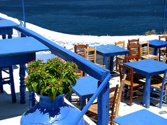 Blue Paradise (ptg1975) Tags: blue sea brown white island restaurant holidays aegean hellas greece tavern tables skopelos sporades  thessaly thessalia kartpostal    scopelos