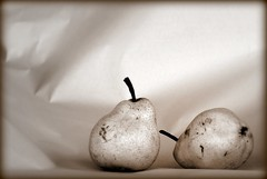 Pears - sepia (ssoross1) Tags: fruits sepia pears picnik pentax50mm