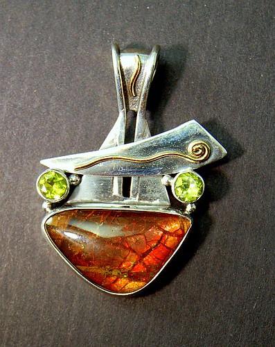 Ammonite, Silver, 18kt Gold & Peridot