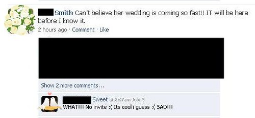 facebook wedding drama