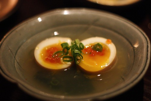 I love this half cooked egg with ikura!