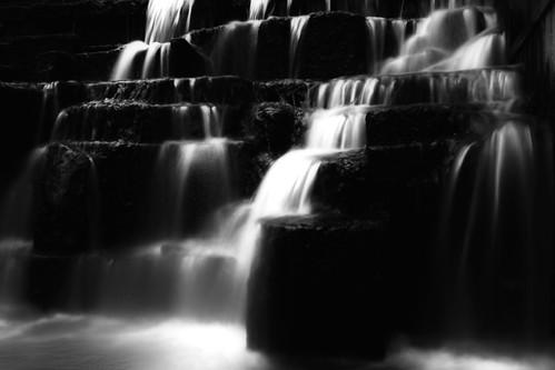 無料写真素材, 自然風景, 河川・湖, 滝, 風景  日本, モノクロ