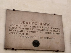 Photo of Jeanne d'Arc brown plaque