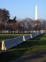 jersey barriers and the Washington Monument (by: Daniel Lobo, creative commons license)
