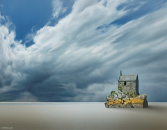 Voices of Solitude (Ben Heine) Tags: ocean light sea mer house storm france art beach clouds composition dark print landscape vent freedom stand fight still highresolution sand bravo rocks flickr poem alone loneliness gloomy time nikond70 lumire invisible surrealism sable peaceful calm digitalpainting shore elements harmony poet land terre unreal