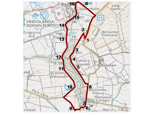 Walk 1 - Chainley Burn map