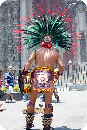 zocolo-Mexico City, Aztec dancer by you.