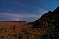 Moonlighting in Utah (Fort Photo) Tags: longexposure red sky nature night landscape utah ut nikon desert towers moonlit fisher moonlight 2009 afterdark startrails fishertowers d300 tokina1116