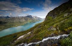 Lake Gjende (Kenny Muir) Tags: mountain norway landscape stream searchthebest wideangle ridge glacial bessegen norwaybessegen