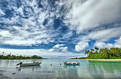 Muri Beach HDR #1 (petervanallen) Tags: world ocean trip blue trees sea sky white reflection green coral clouds landscape boats nikon pacific calm palm cookislands rarotonga reef hdr worldtrip d90 petervanallen wwwpetervanallencom