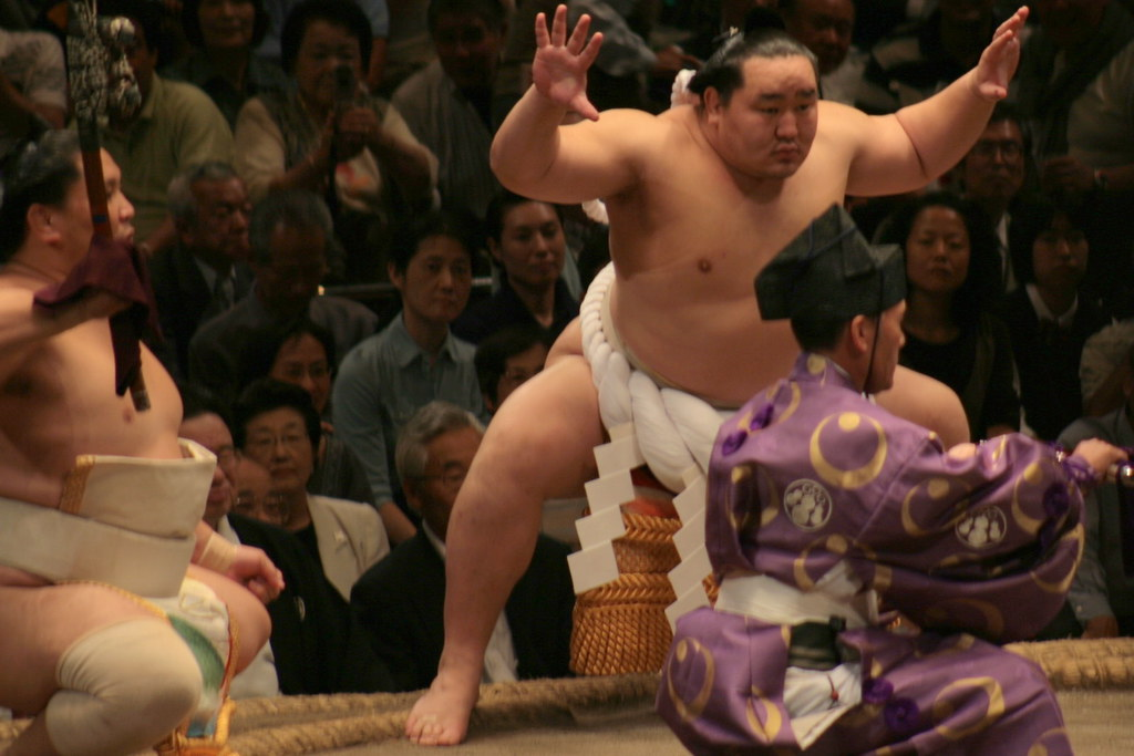 Yokozuna Performing the Ring-Entering Ceremony