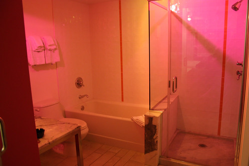Our pink bathroom at the Flamingo