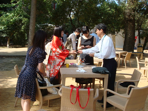 Prof. Ando, Maiko, Kudo Amane, Luchino Fujisaki having sitting for drinks