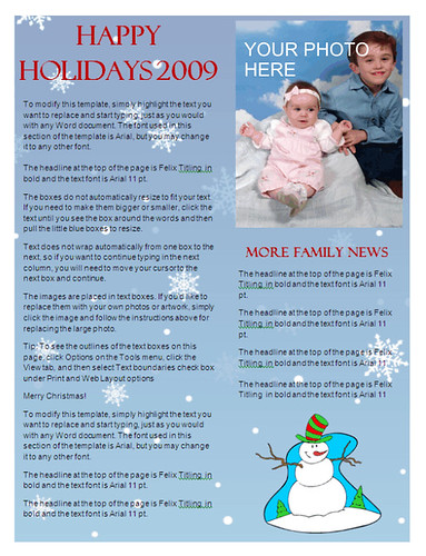 Christmas Newsletter Template - Snowflake Background at ...