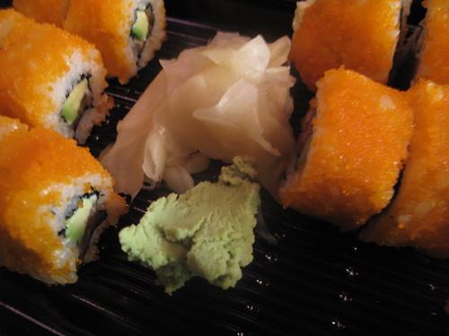 Ginger and wasabi garnish