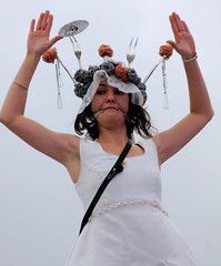 One and Other-Domestic Violence. 25/67 (Feggy Art) Tags: wedding woman white man black london art utensils kitchen canon square dead eos rebel death one groom bride march other clothing kiss silent underwear performance ceremony trafalgar trafalgarsquare 4th marriage husband spouse wed domestic silence silvia wife violence gag crown performanceart domesticviolence cloth bridal dying