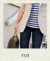 striped tank top, j brand jeans, loafers, cat eye sunglasses, beige blazer, 11-5 outfit+what I wore
