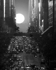 Manhattanhenge, New York City (hudson666) Tags: sunset bw newyork manhattan 42ndst stonehenge grandcentral manhattanhenge 42ndstreet manhattansolstice