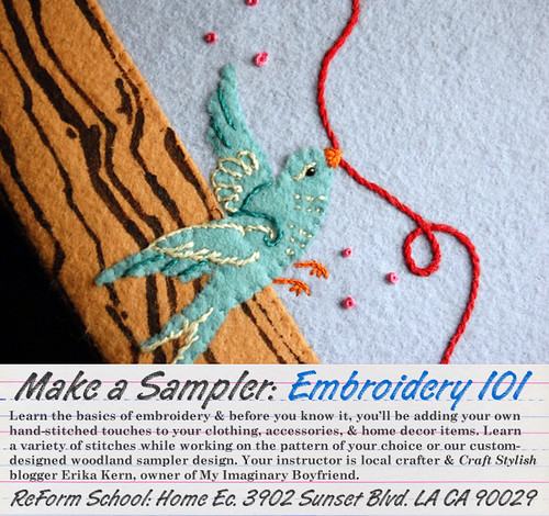 Embroidery 101 Class @ Home Ec. by Sew Darn Jenny.