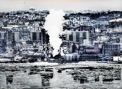 Era of industrilazation (Tony Shi Photos) Tags: winter newyork hudsonriver yonkers hdr sincity heavyindustry nikond700  tonyshi yonkerny industrilazation